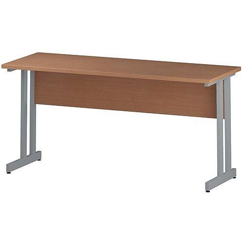 Rectangular Double Cantilever Silver Leg Slimline Office Desk Beech W1600xD600mm