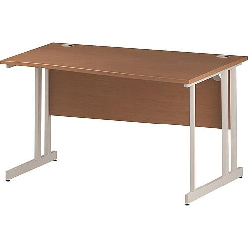 Wave Double Cantilever White Leg Right Hand Office Desk Beech W1400mm