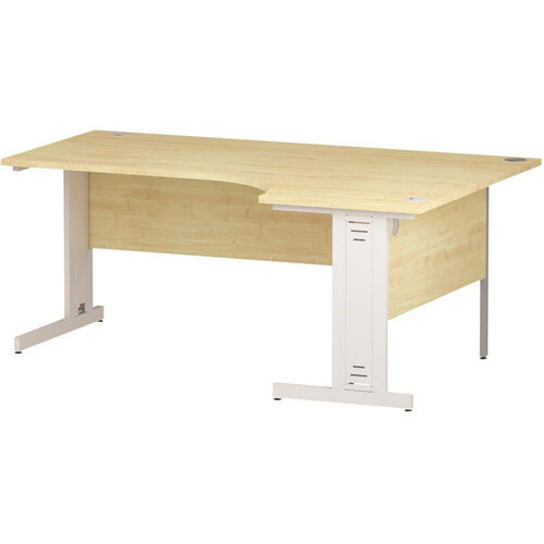 L-Shaped Corner Right Hand Cable Managed White Leg Office Desk Maple W1800mm
