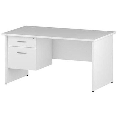 Rectangular Panel End Office Desk With Fixed 2 Drawer Pedestal White W1400xD800mm