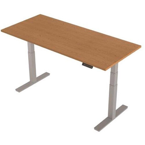 1800x800mm Height Adjustable Rectangular Sit-Stand Desk Oak with Silver Frame