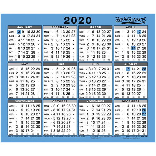 2020 Desk Calendar  254x210mm At-A-Glance Year to View Gloss Board Binding White/Blue Ref 930 2020