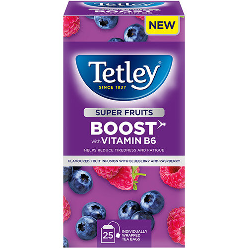 Tetley Super Green Tea BOOST Raspberry &Blueberry with Vitamin B6 Ref 4692A Pack of 25