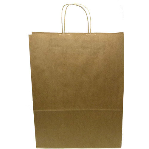 Kraft Paper Carrier Bag Twisted Handles Large 320x420x150mm 100g Natural Brown Ref 12933 Pack of 100