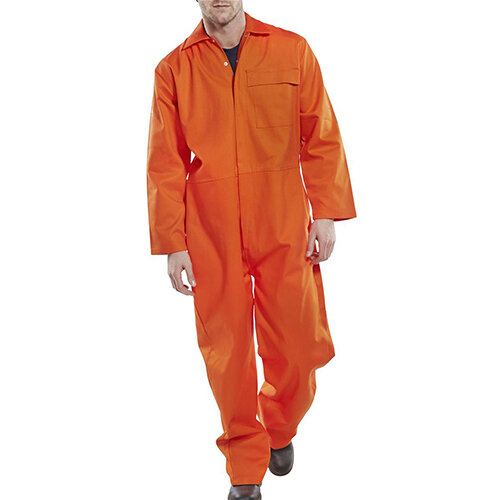 Click Fire Retardant Cotton Boilersuit Work Overall Size 54 Orange Ref CFRBSOR54