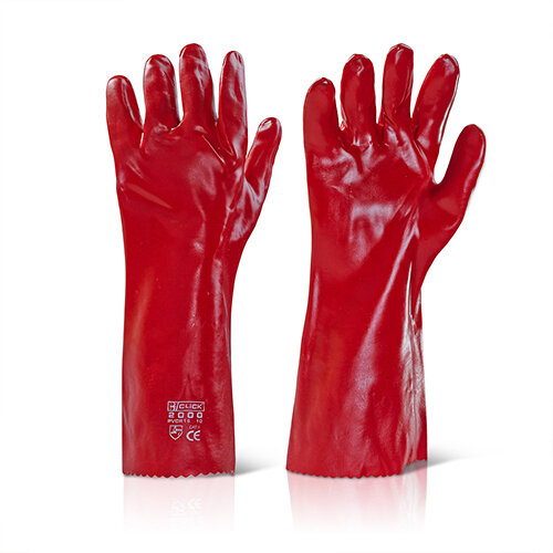 Click2000 PVC Gauntlet Open Cuff 16 Inch Red Pack of 100 Pairs - Liquid Proof Ref PVCR16