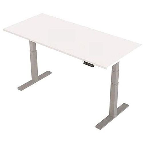 1800x800mm Height Adjustable Rectangular Sit-Stand Desk White with Silver Frame