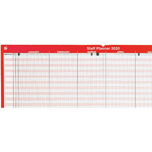 5 Star Office 2020 Staff Planner Mounted Landscape with Planner Kit 915x610mm Red