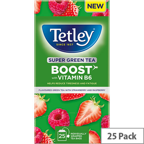 Tetley Super Green Tea BOOST Strawberry &Raspberry with Vitamin B6 Ref 4690A Pack of 25
