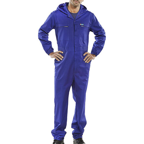 Super Click Workwear Hooded Boilersuit Work Overall Size 54 Royal Blue Ref PCBSHCAR54