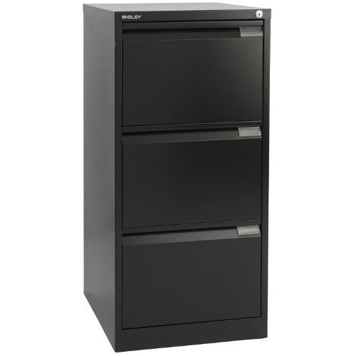 3 Drawer Steel Filing Cabinet Flush Front Black Bisley BS3E