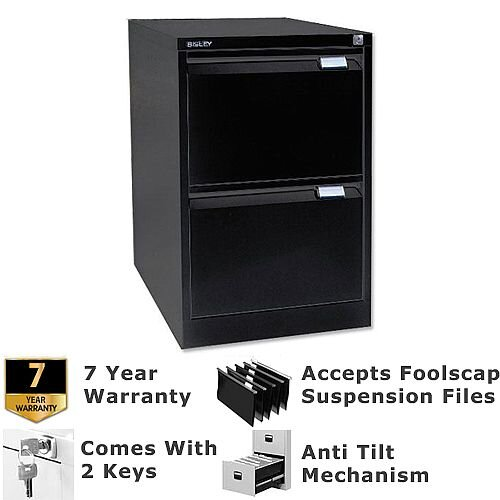2 Drawer Steel Filing Cabinet Flush Front Black Bisley BS2E