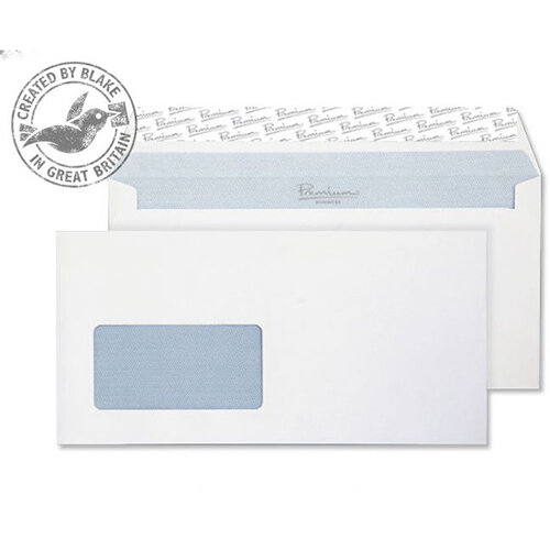 Blake Premium Office DL 120g/m2 Woven Peel and Seal Window Wallet Envelopes Ultra White Pack of 500 Ref 4031048
