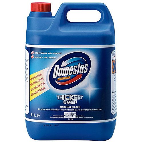 Domestos Professional Original Bathroom Disinfectant Thick Bleach 5L Container 24hr Protection
