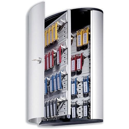 Durable Key Safe Cabinet 48 Key Capacity Silver