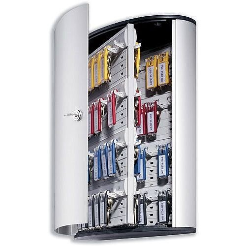 Durable Key Safe Cabinet 72 Key Capacity Silver