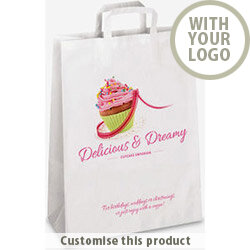 Small SOS Flat Handle Carrier Bag 180478 - Customise with your brand, logo or promo text