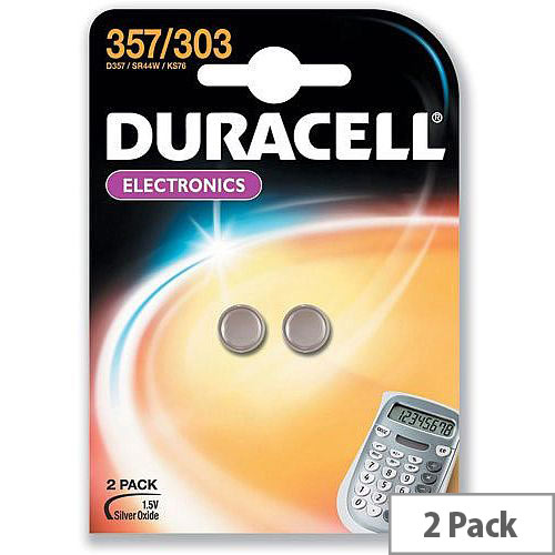 Duracell D357/303 Button Cell Coin Batteries Silver Oxide 1.5V Pack 2