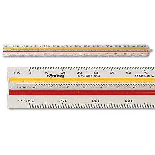 Rotring Ruler Triangular Reduction Scale 1 Architect 1-10 to 1-1250 2 Coloured Flutings