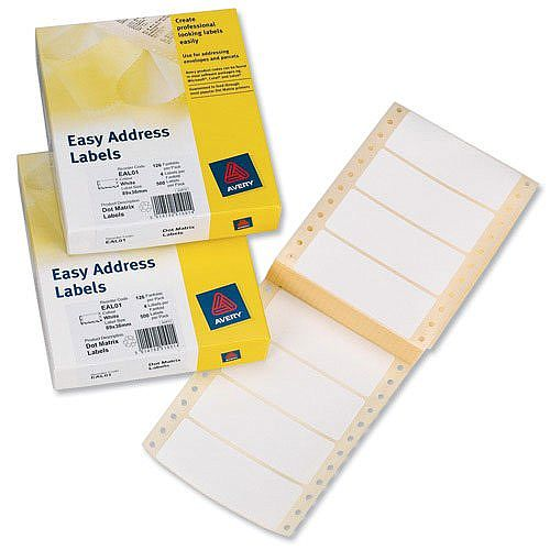 Avery Easy Address Labels 89x37mm EAL01 500 Labels
