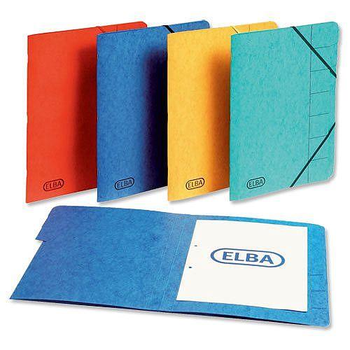 Elba Elasticated File 9 Part Foolscap Blue Pack 5