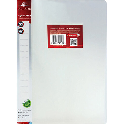 Pukka Display Book Polypropylene 20 Pockets A4 Clear Ref 7137-PFL [Pack 12]