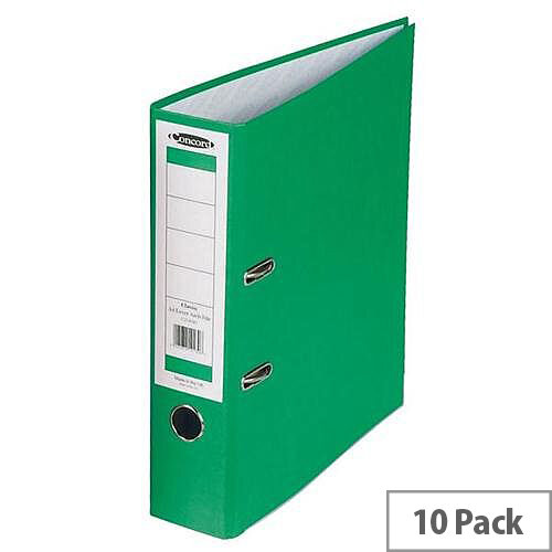 Concord Classic Lever Arch File Printed Lining Capacity 70mm A4 Green Pack of 10