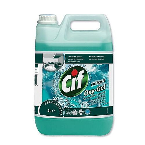 Cif Oxygel Multipurpose Cleaner Professional Active Oxygen Ocean Spray 5 Litre. Includes Active Oxy-Gel &Micro-Bubbles To Easily Lift Dirt. Ideal For Schools, Colleges, Offices, Homes &More.