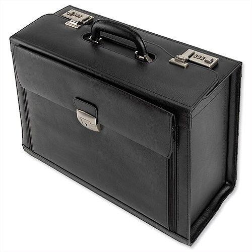 Leather Pilot Case With Laptop Compartment 2 Combination Locks Black Alassio Ferrara