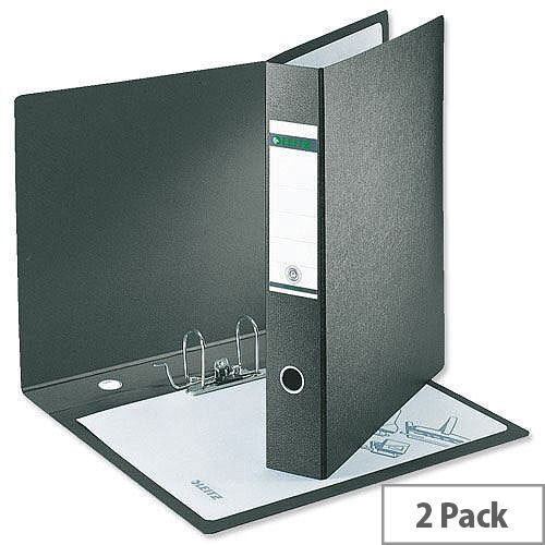 Leitz 180 A3 Upright 77mm Black Lever Arch File Pack of 2