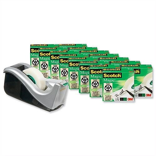 Scotch Magic Tape 810 Matt Roll 19mm x 33m Pack 16 and C60 Dispenser