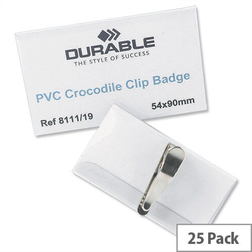 Durable Name Badges Crocodile Clip 54 x 90mm Pack 25 – Transparent, Sturdy PVC, Rotating, Online Software To Print Inserts &Easy To Identify (8111)