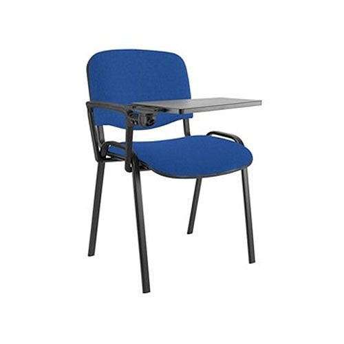 Stacking Sidechair with Writing Tablet Blue with Black Legs