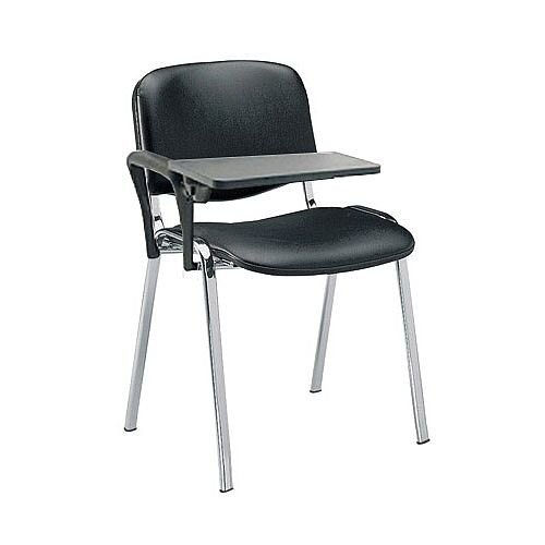 Stacking Sidechair with Writing Tablet Vinyl with Chrome Legs