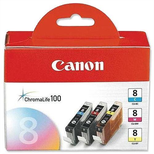 Canon CLI-8CMY 3-Colour Ink Cartridges Cyan/Magenta/Yellow 0621B026