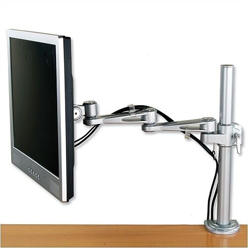 "HuntOffice LCD Desktop 2 Way Monitor Arm – Max Weight 10KG, Max Screen Size 22"", VESA 100x75mm, Cable Management, C Clamp Mount &Suitable For Home and Office (7220S)"