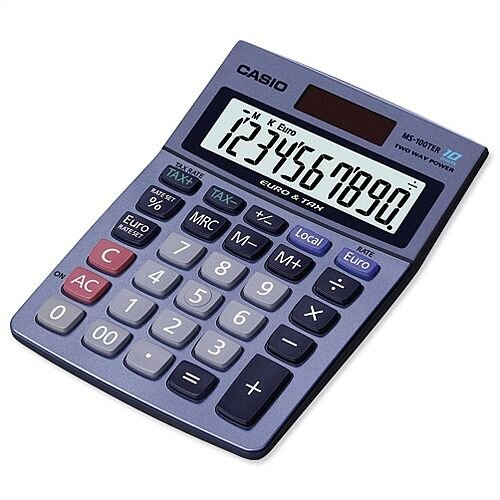 Casio MS100TER Calculator Battery Solar Power 10 Digit