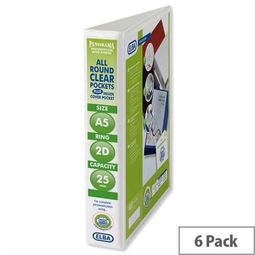 Elba Presentation A5 Ring Binder 25mm Capacity White 2 D-Ring 570350 Pack 6