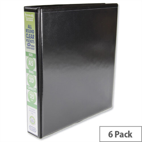 Elba Presentation A5 Ring Binder 25mm Capacity Black 2 D-Ring 560303 Pack 6