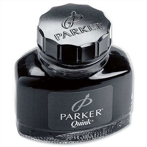Parker Quink Ink Bottle Black 57ml – Smooth, Blot Free, Suitable For Fountain Pens, No Skipping Or Scratching, Permanent Ink &Dry's Quickly (S0037460)