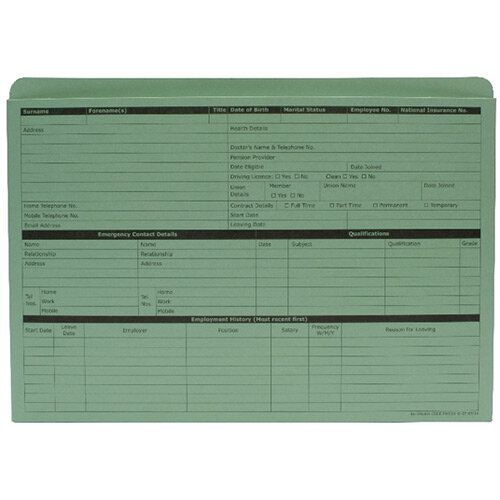 Personnel Forms Personnel Wallets Green 235x330mm Pack 50 Sigma