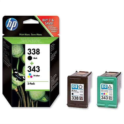 HP 338 and 343 Black &Colour Ink Cartridges Twin Pack SD449EE