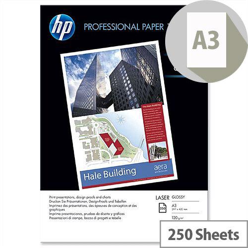 HP Hewlett Packard A3 Professional 120gsm Glossy Laser Printer Paper 250 Sheets CG969A