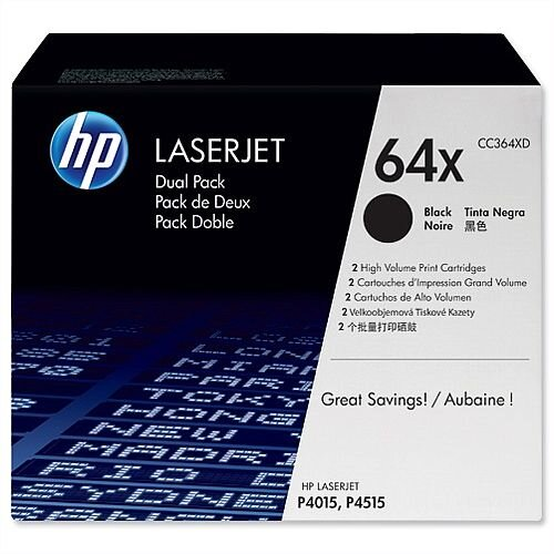 HP 64XD Black Laserjet Toner Cartridge CC364XD Pack 2