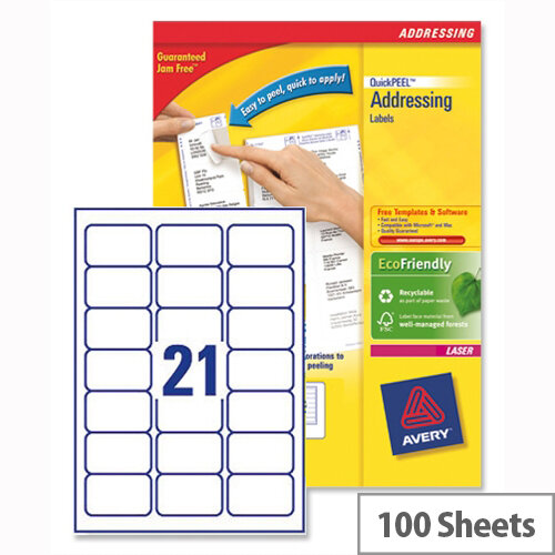 Avery L7160 100 Address Labels Laser 21 Per Sheet 635x381mm 2100