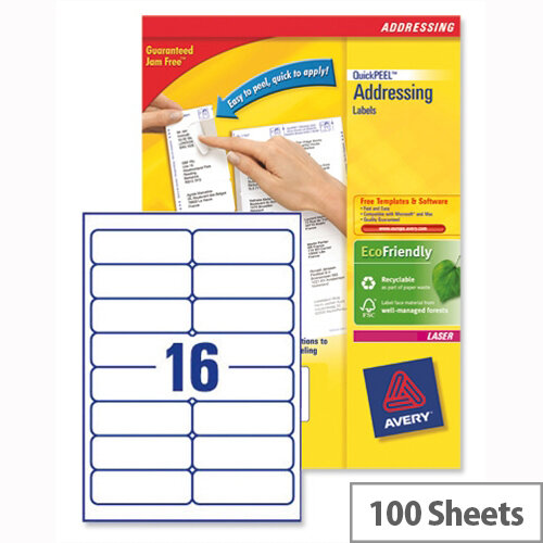 Avery l7162 100 address labels laser 16 per sheet for Word label template 16 per sheet a4
