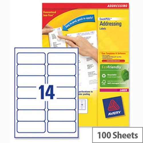 Avery L7163 100 Address Labels Laser 14 Per Sheet 991x381mm White
