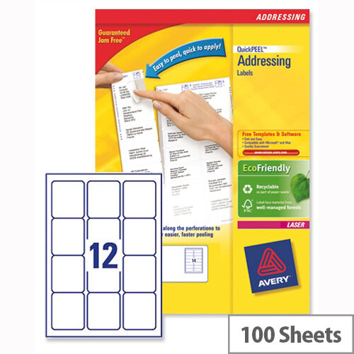 avery l7164-100 address labels laser 12 per sheet 63 5x72mm white 1200 labels