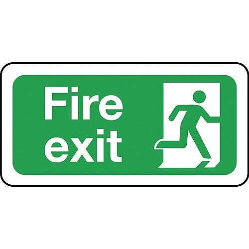Safety Sign Fire Exit Image Right Sign 200 x 400mm PVC