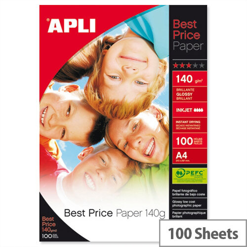Apli A4 Glossy Best Price Photo Paper 140gsm (Pack of 100)